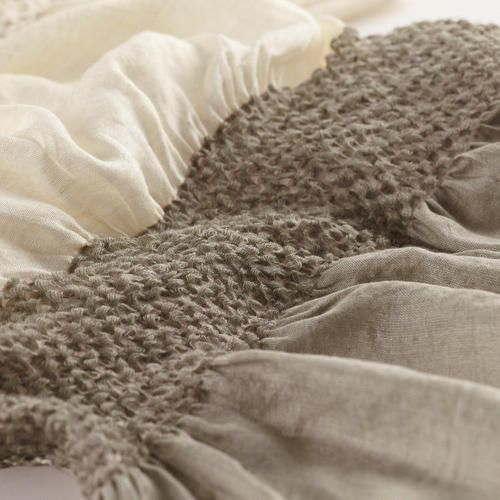 Ivory and Taupe Puckered Scarf