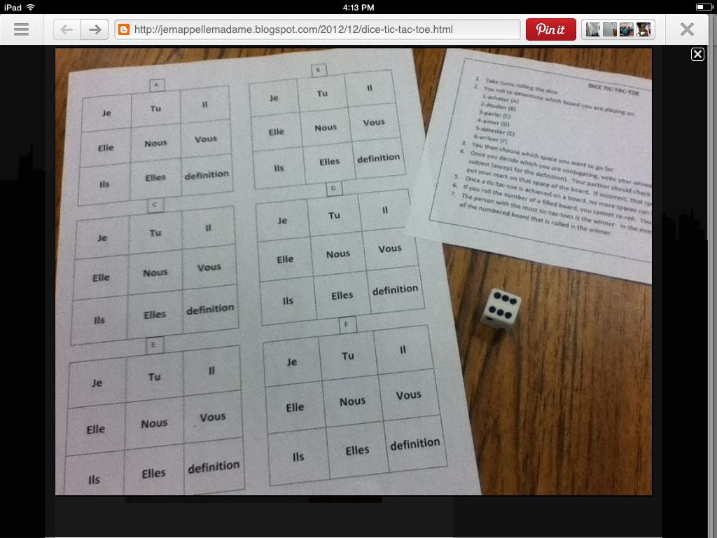 """Dice Tic Tac Toe Board for practicing verb conjugations (allows for several rounds). Roll dice to determine which verb student will use to conjugate for that board. Then student chooses the square they want to go for. If student correctly conjugates subject and verb,  they get to mark an X in the square...if incorrect then it stays open. student who wins most rounds could win a """"Euro""""/points on a quiz or test/prize/etc!"""
