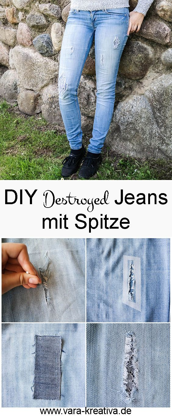 diy upcycling destroyed jeans mit spitze refashion. Black Bedroom Furniture Sets. Home Design Ideas