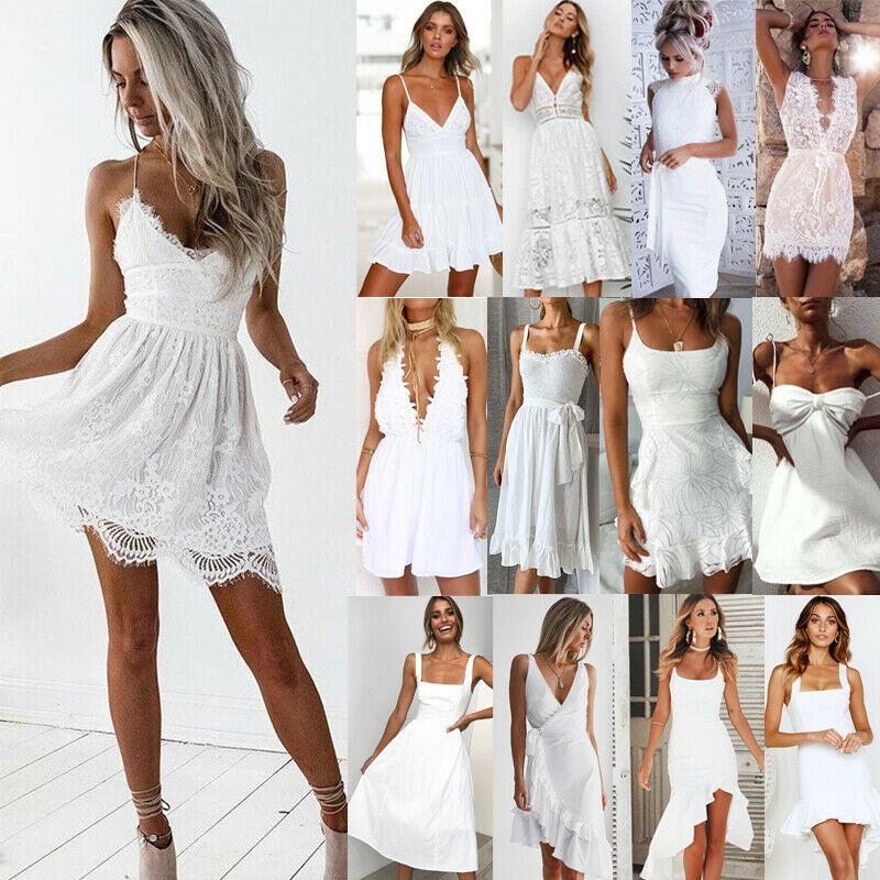 new style 875ce 09284 DE Damen Weiß Spitze Abendkleid Sommerkleid Strand ...