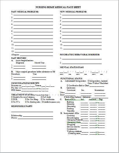 sample of resume face sheet