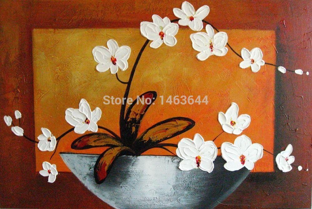 Cheap Arte de la pared Ready To colgar moderno abstracto blanco flor ...