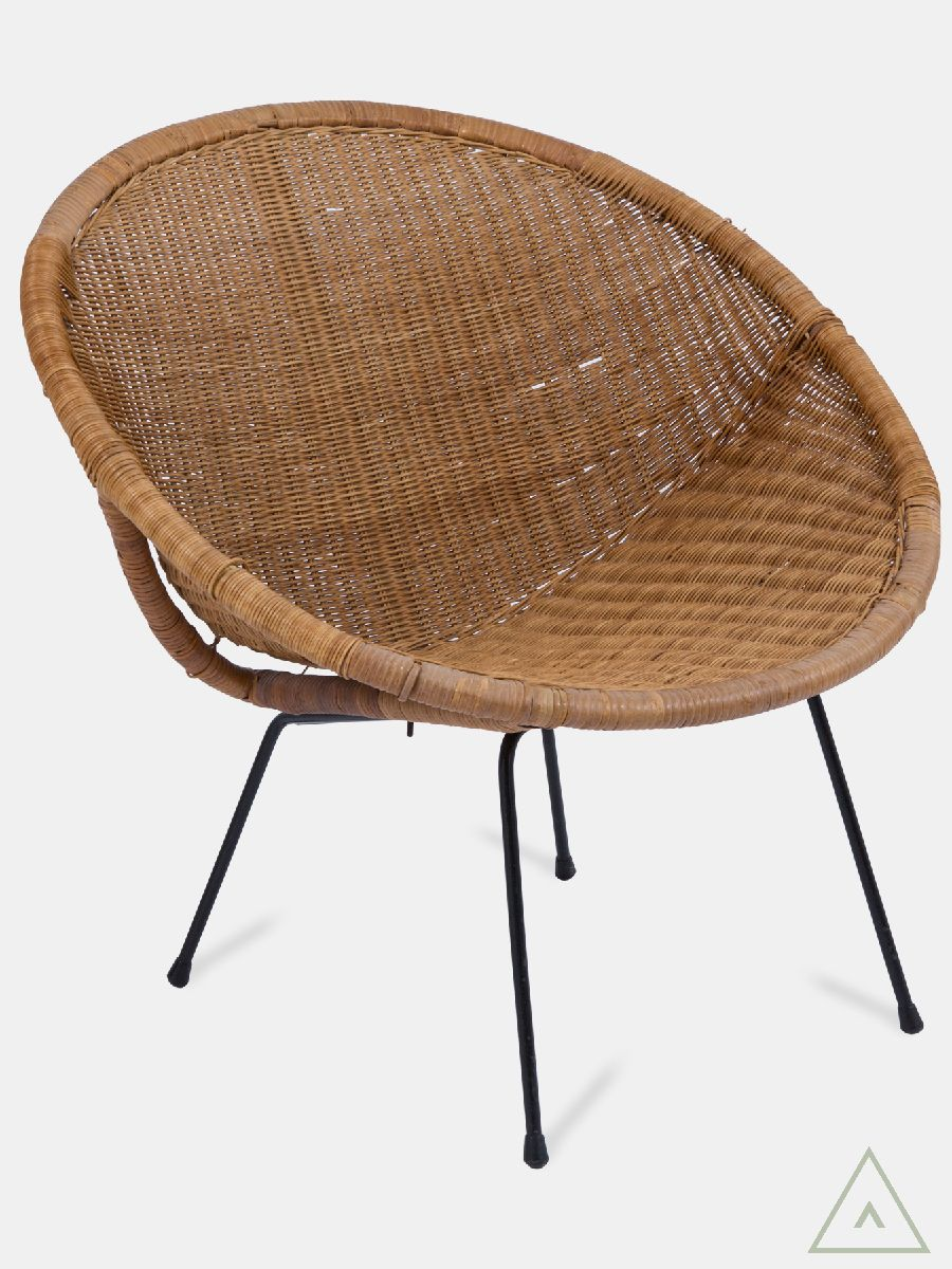 Vintage 1950\'s wicker tub chair on tubular metal legs. Explore ...