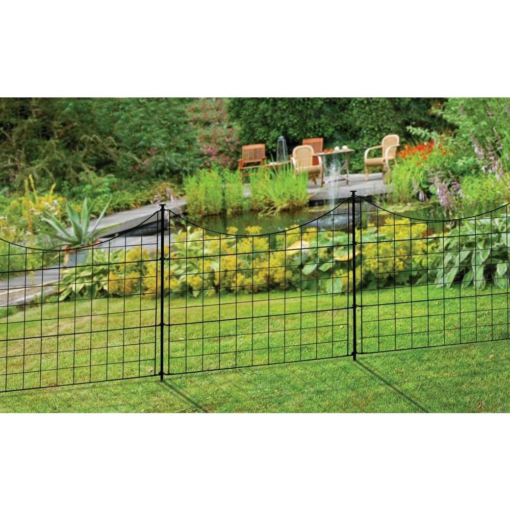 2 08 Ft H X 2 46 Ft W Zippity Black Metal Garden Fence Panel With