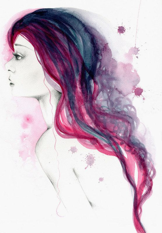 Silhouette Head With Watercolor Hair Vector Illustration Of Woman