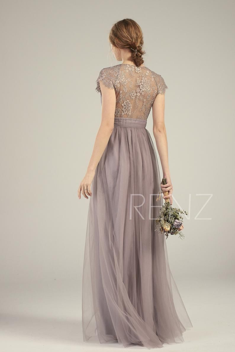 Mauve Bridesmaid Dress Tulle Prom Dress Long Empire Waist Etsy In 2020 Tulle Bridesmaid Dress Dresses Mauve Bridesmaid Dress