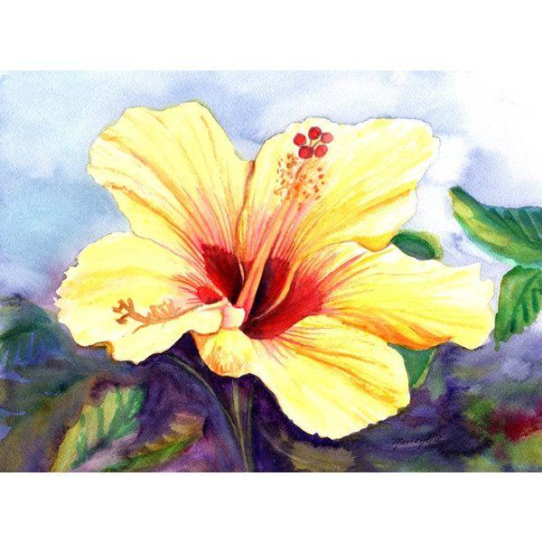 yellow hibiscus, original hibiscus paintings, watercolor art ...
