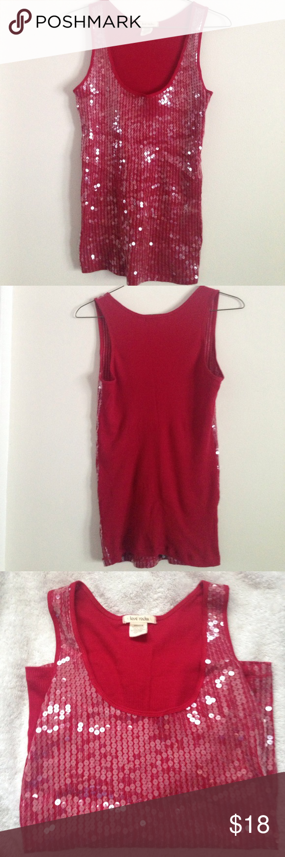 NWOT Red Sequin Tank Top, Slim Fit, Size M 🎉10% off Bundles of 2 or More!🎉 NWOT fierce red sequined tank top by Love Rocks, size Medium. Perfect condition, never worn, has been in a plastic box in storage. Tank is ribbed knit cotton, with a slim flattering fit, and ultra-shiny sequins are sewn into the fabric on front. Rock this at your next concert or in the club and stand out from the crowd! Tops Tank Tops