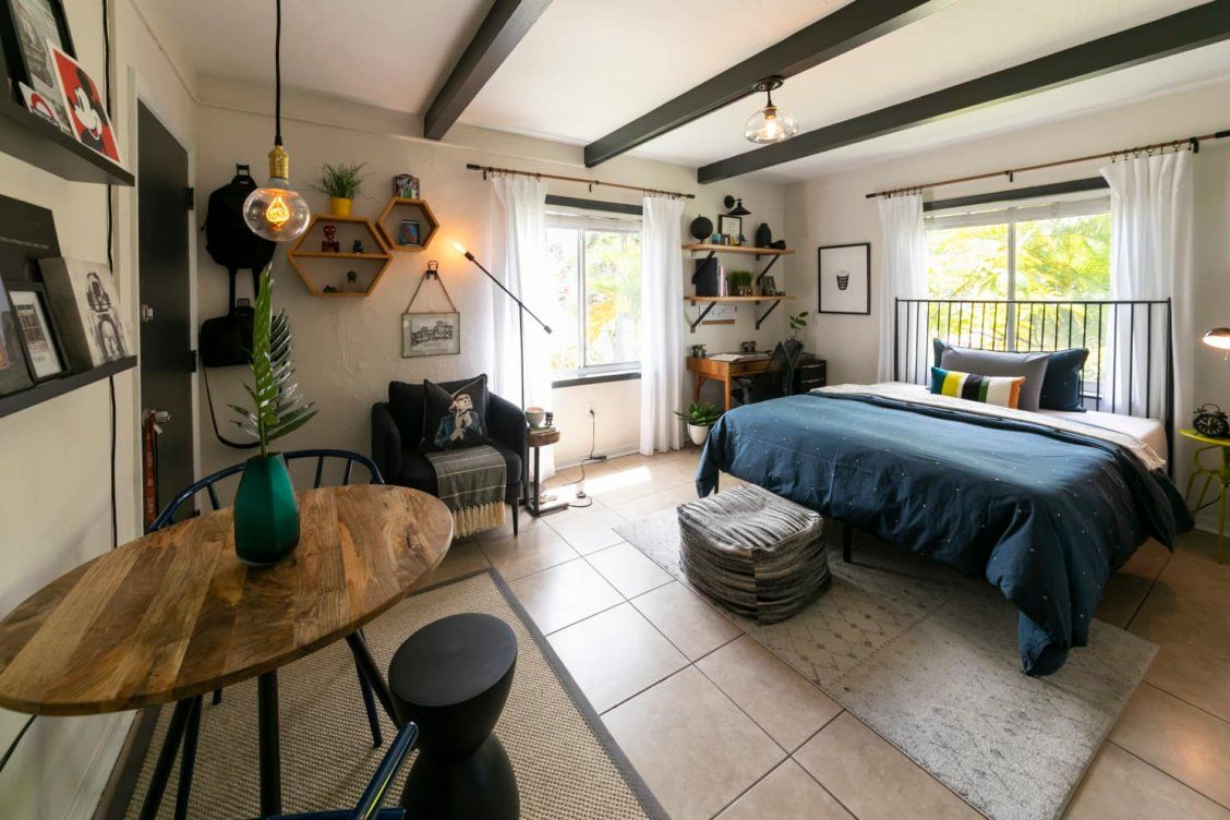 An Organized 305 Square Foot Studio Apartment Features Superb Space Maximizing Ideas Small Space Design Tiny Studio Apartments Small Spaces