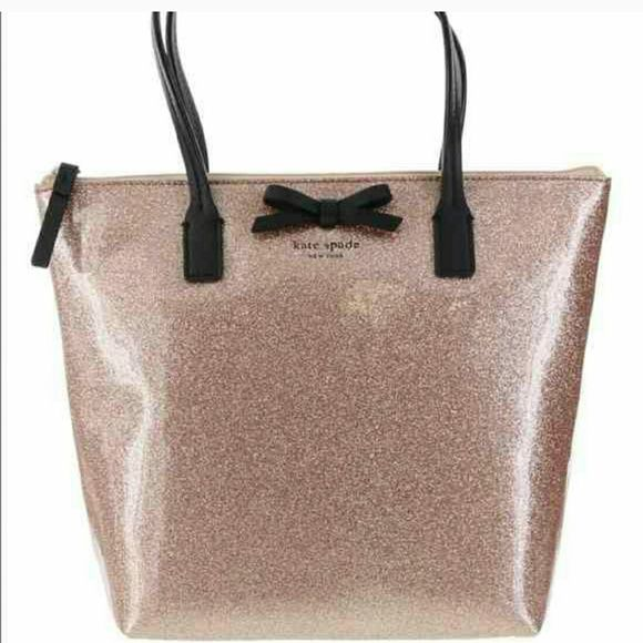 3fa198410be0 KATE SPADE rose gold sparkle purse! Pink champagne color, gorgeous sparkle  with black trim. kate spade Bags