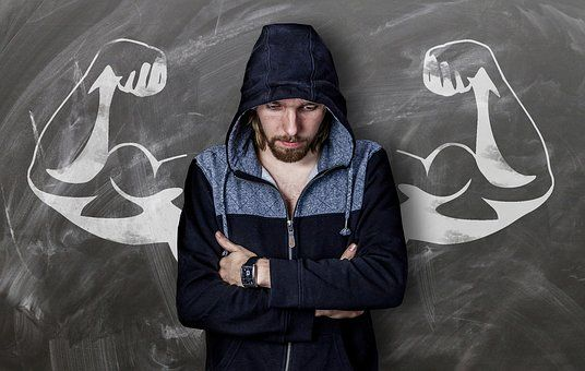 Man, Board, Drawing, Muscles