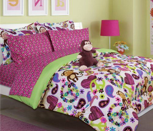 Girl's peace, love and monkey print comforter set with sheet set (twin size) Bed In A Bag http://www.amazon.com/dp/B00CHWJ29O/ref=cm_sw_r_pi_dp_5TGGub1WBJ269
