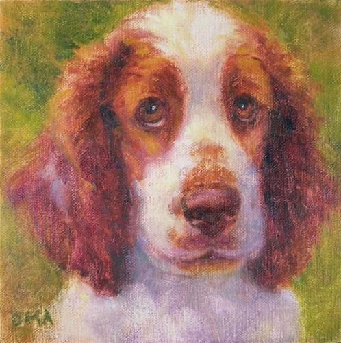 This is a fabulous painting of my Welsh Springer Spaniel, Kendyl. It was painted by Deb Ames, of Clive. I am trying to win it as the piece is currently in an auction. Wish me luck!