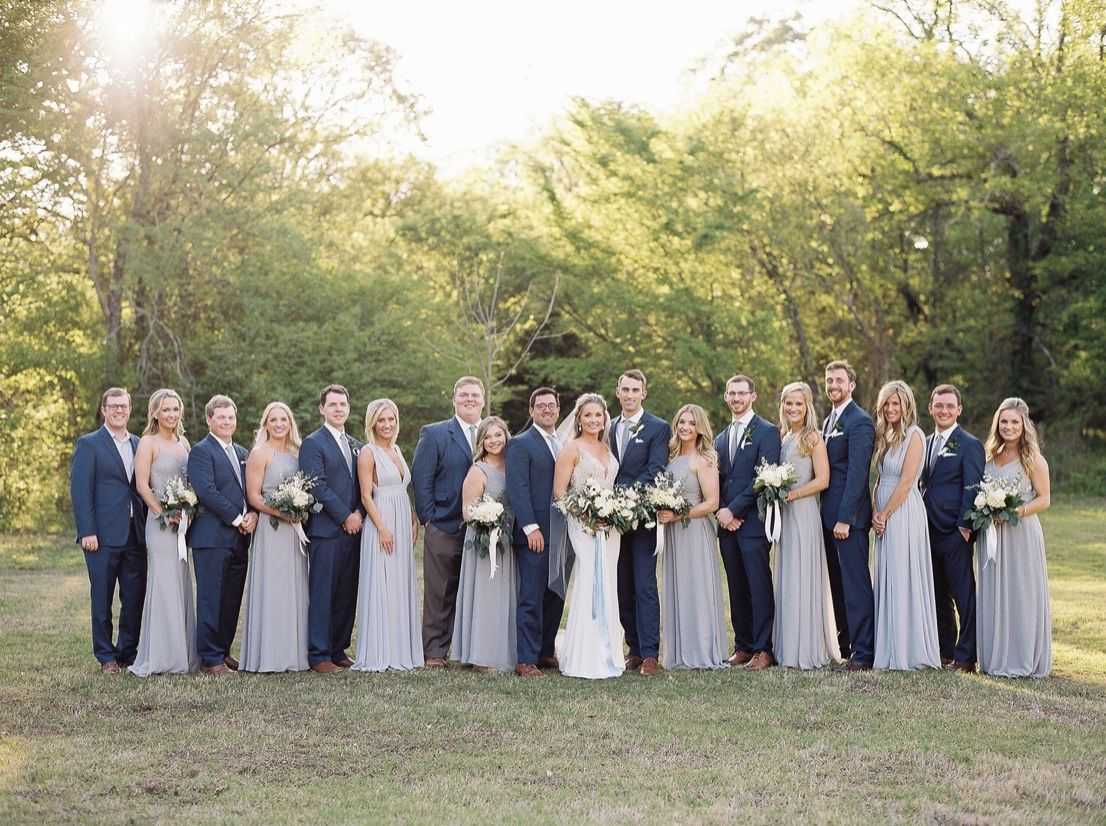 Pin By Makenzie Bruce On Wedding Wedding Bridesmaids Dresses Blue Gray Wedding Party Grey Bridal Parties