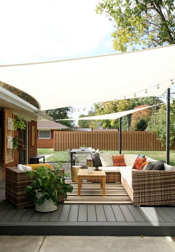 Diy shade sails for outdoor patio livning areas a how to for Ideas for small patio areas