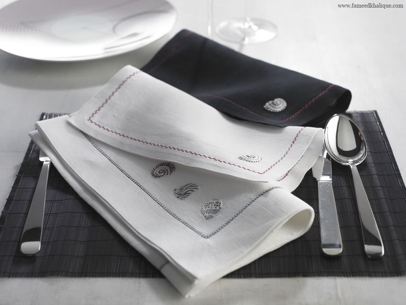 Linen Towels, Dynasty Coquille.Embroidered shell on luxury linen napkins. Interior design ideas for a luxury dinner table.