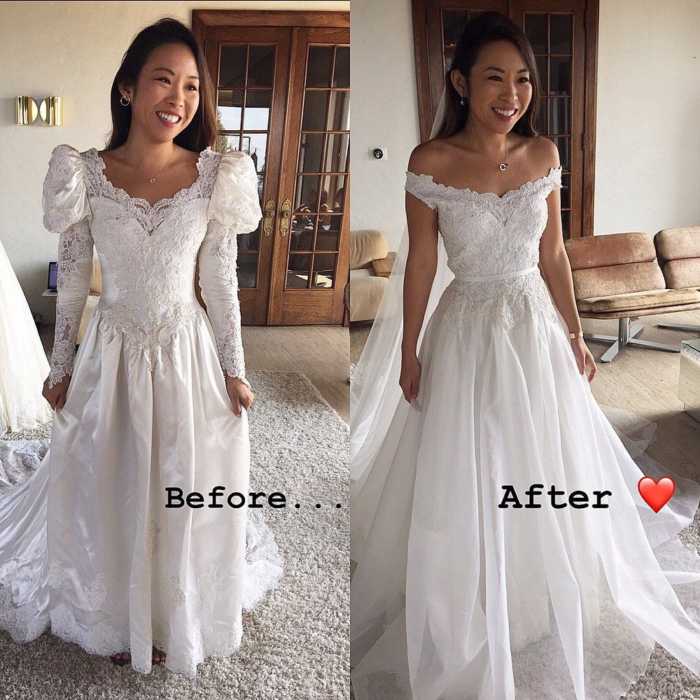 Something Old To Something New Custom Trish Peng Bridal Before And After Vintage Wedding Dress Mom Wedding Dress Old Wedding Dresses Wedding Dress Alterations