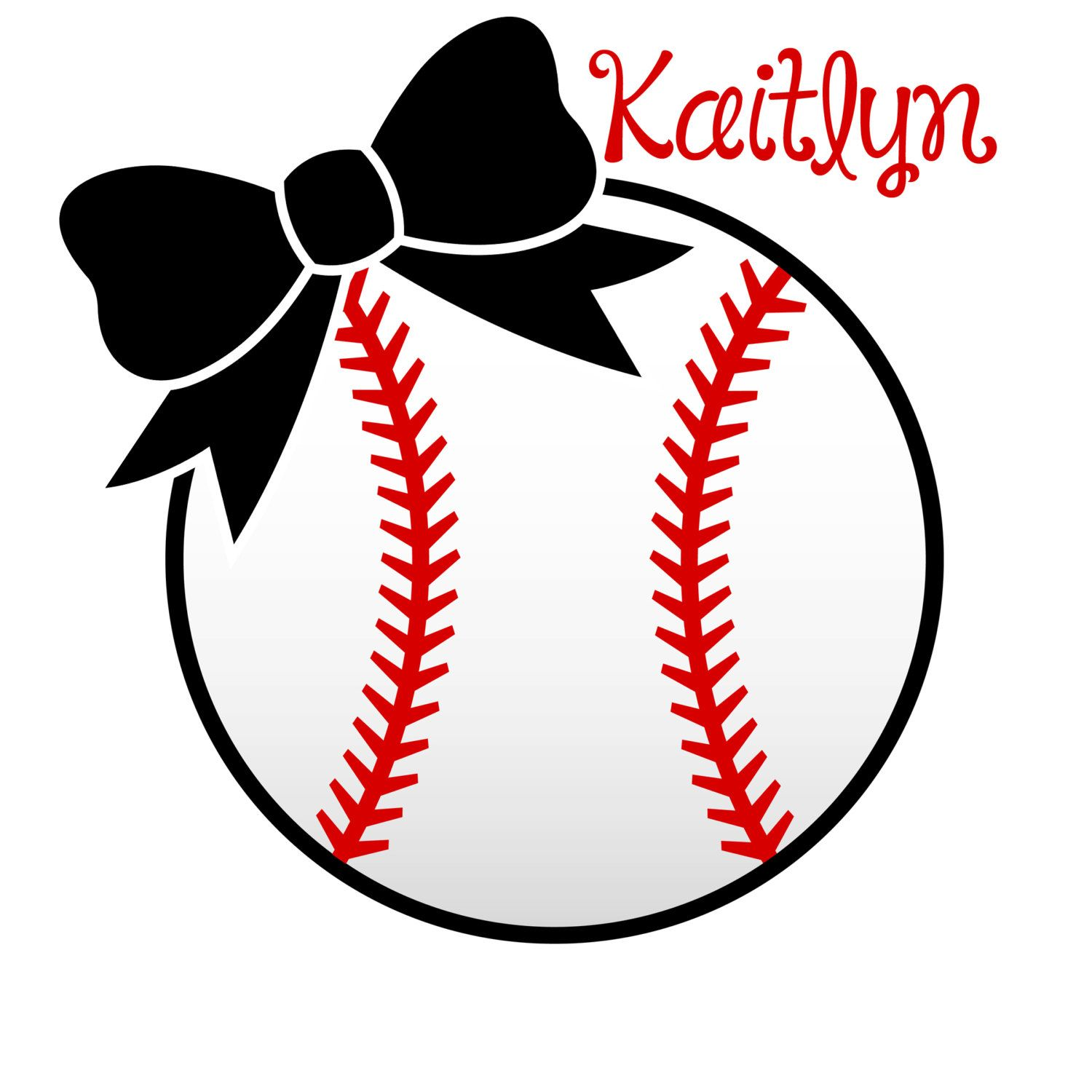 Softball with Bow decal personalized. 6.50, via Etsy