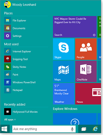 What's new — and expected — in Win10, build 9926 Windows