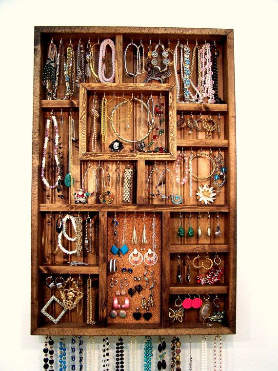 Jewelry Organizer Earring Holder Handmade Wood Wall Art Display