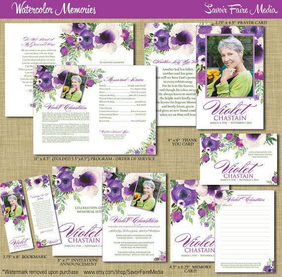 Funeral Memorial Order Of Service Program Set   Printable Watercolor Prayer  Card, Program, Bookmark  Prayer Card Template Free