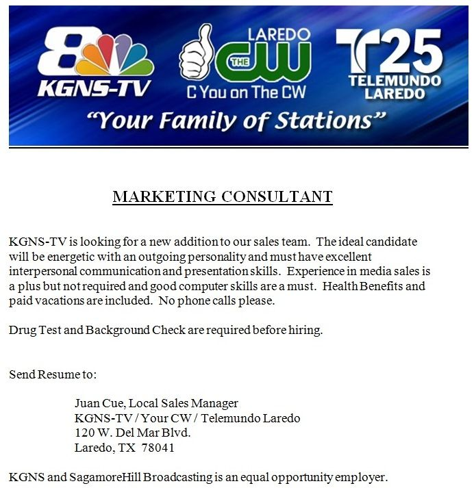 Kgns Tv Is Hiring A Sales Consultant Posted   Ocs Off