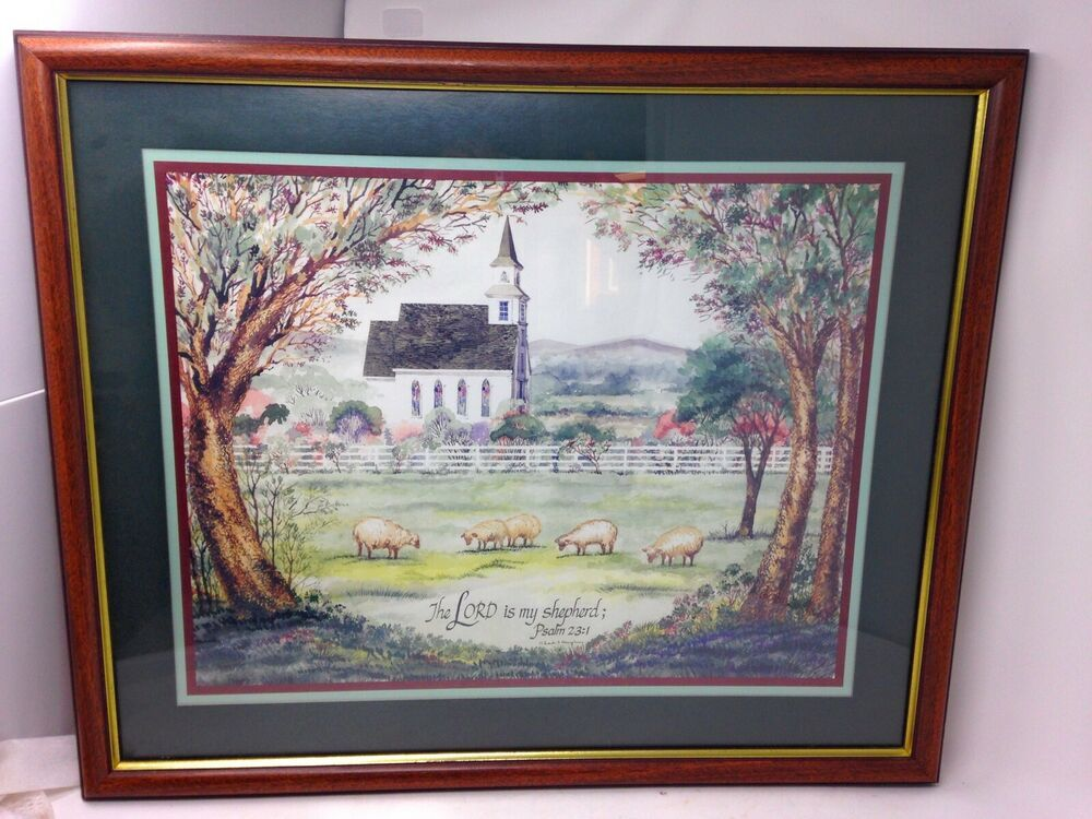 Vintage Framed Print 23rd Psalm The Lord Is My Shepherd By Homco Home Interiors Vintage Frames Home Interiors And Gifts House Interior