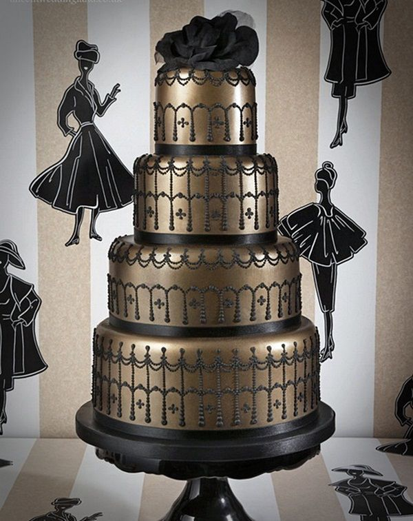 unusual black gold wedding cake pictures Romantic Italian Wedding ...