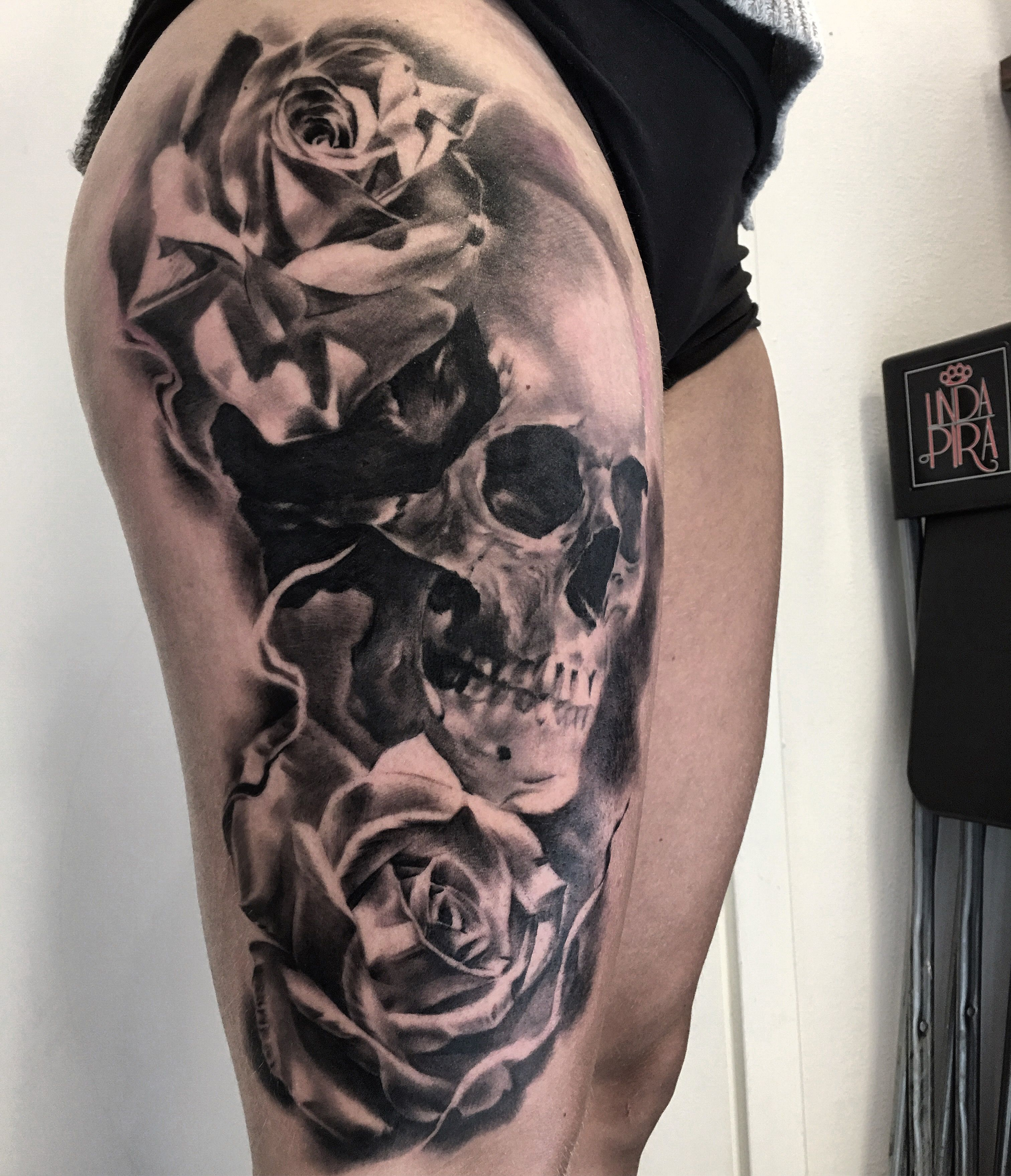 Made by stucklife on instagram skull rose tattoo for Rose and skull tattoos