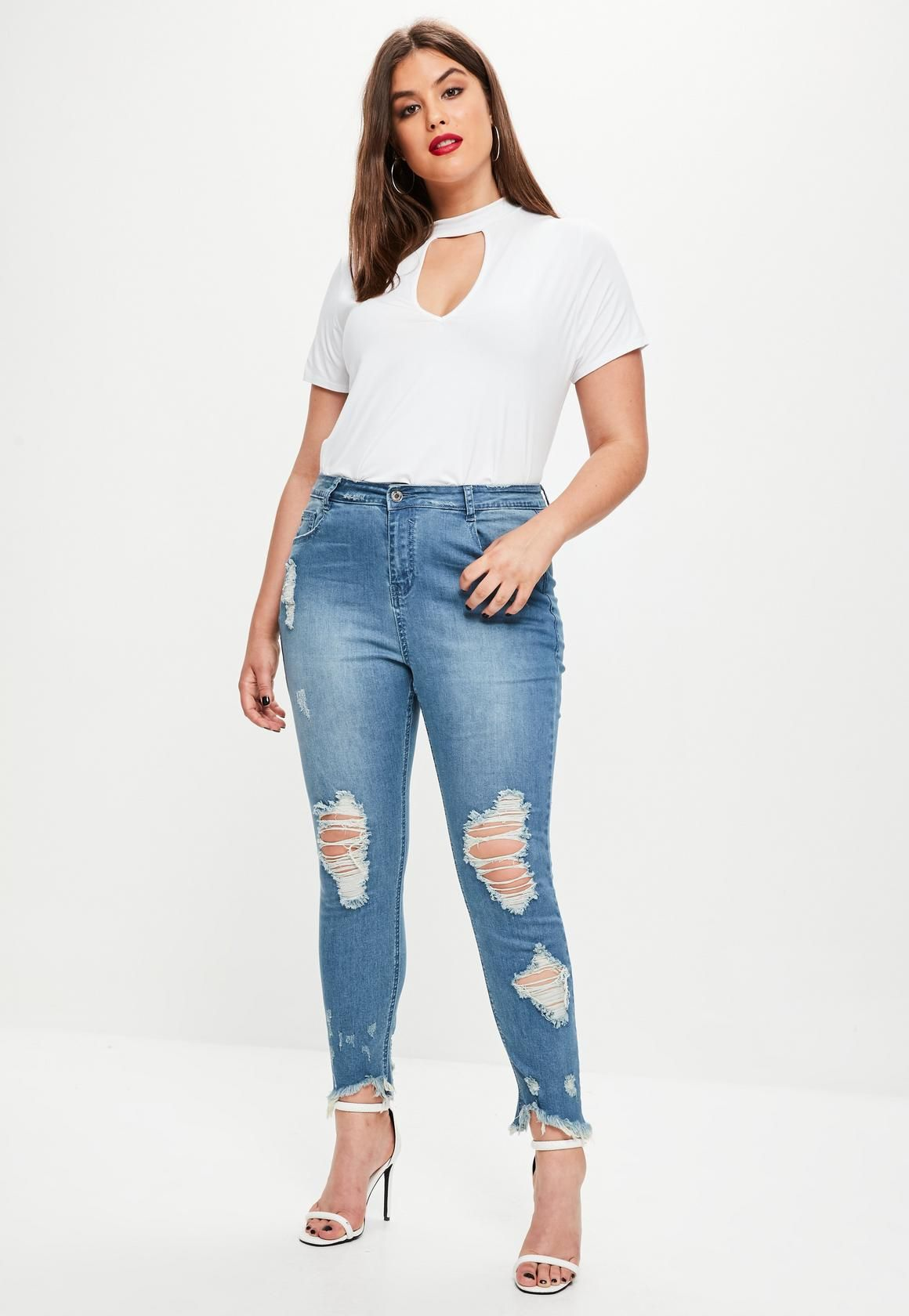 187cbf244bd Missguided - Plus Size Blue Ripped Jeans