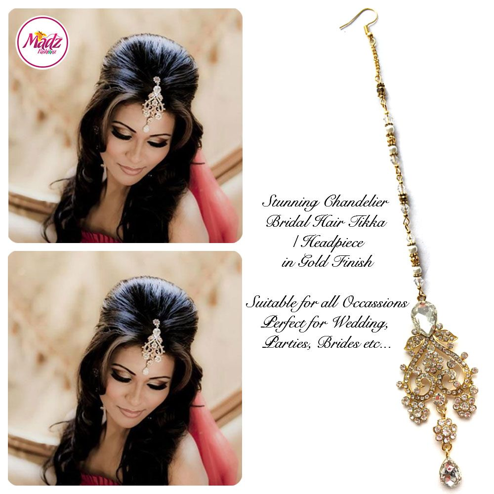 Gold Tikka gold earrings Hair tikka indian by Madz Fashionz UK ...
