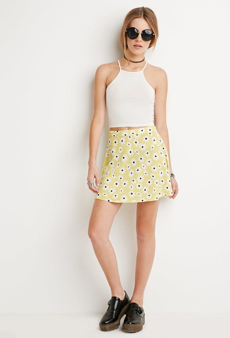 b49ca0f6c9 Textured Daisy Print Skirt | Forever 21 - 2000161694 | F21 | Printed ...