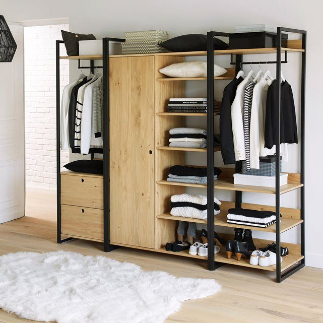 image hiba solid pine unit with clothes rail and 3 shelves la redoute interieurs interiors. Black Bedroom Furniture Sets. Home Design Ideas