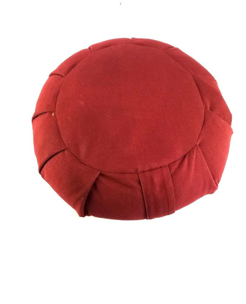 Vintage Round Footstool Top Pillow Cushion Poufe Heavy Canvas Bugundry Home Goods