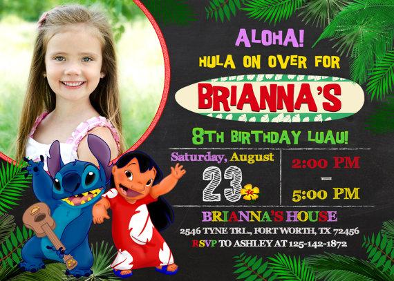 Lilo And Stitch Invitation Lilo And Stitch Birthday By Kidyparty Lilo And Stitch Lilo And Stitch Birthday 1st Birthday Invitations