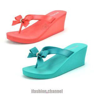 d921d9205 Soda Women Thong PVC Rhinestone Bow Flip Flop Platform Wedge Sandal Heel  Broach