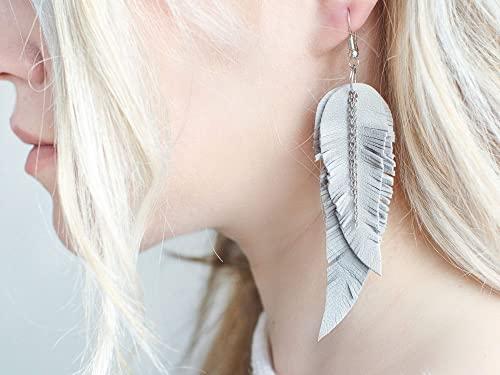Light grey Feather Leather Earrings Boho earrings tribal Earrings layered earrings dangle earrings long earrings