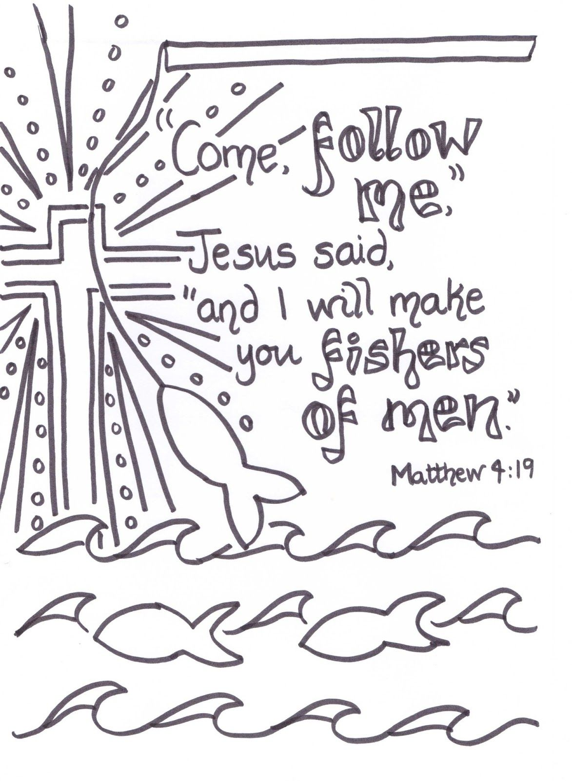 Creative Children S Ministry Fishers Of Men Verse To Colour In Bible Verse Coloring Scripture Doodle Fishers Of Men Verse