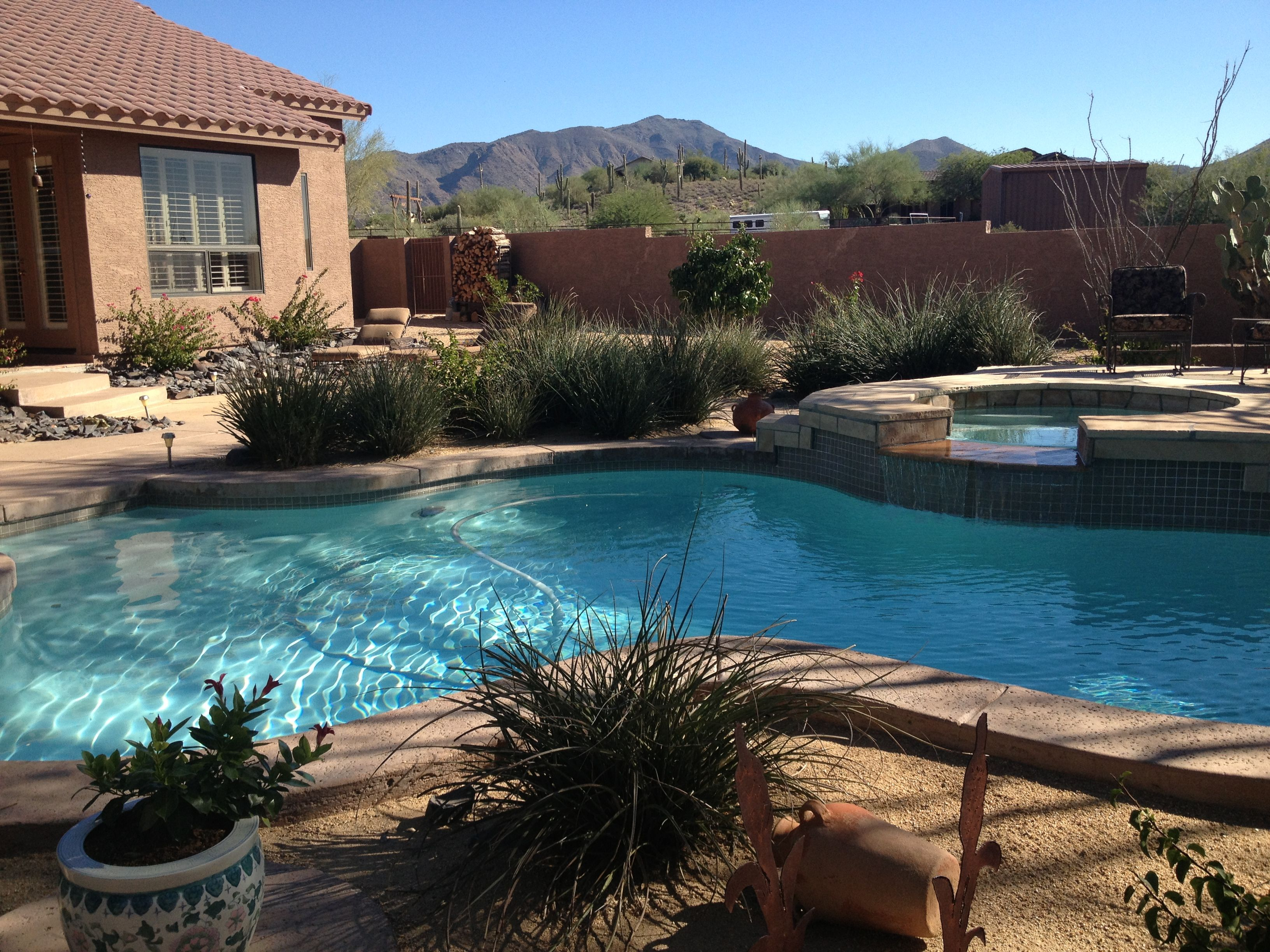 Arizona backyard pool home stuff pinterest for Garden pool in arizona