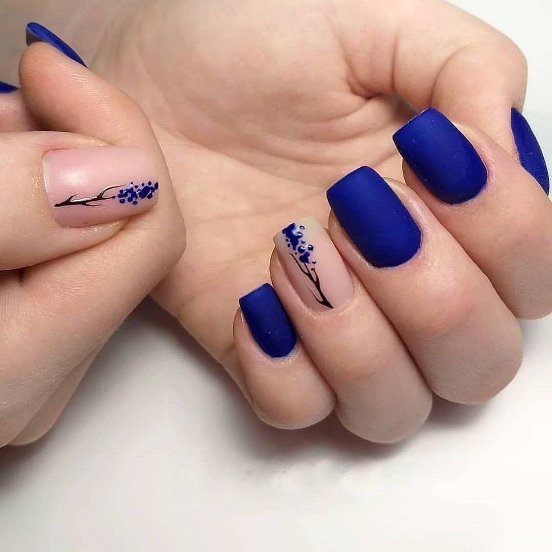 Photo of Mystifying midnight blue elegance with accent nail. #nails #nailart #naildesigns …