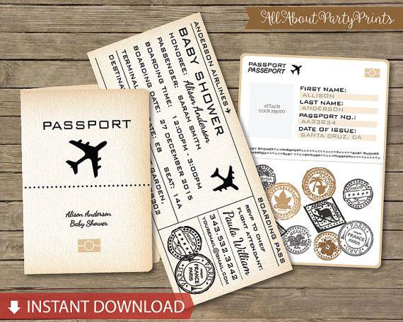 Boarding Pass Passport Baby Shower