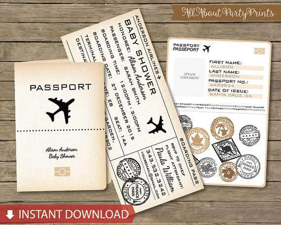 Instant Download Vintage Boarding Pass Passport Baby shower