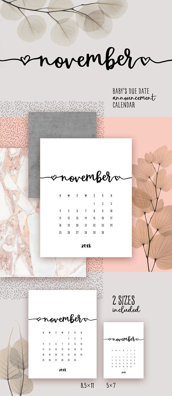 november 2018 printable calendar lovely baby due date