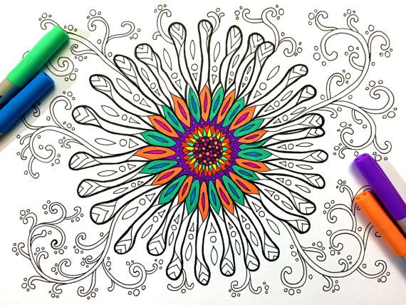 Fancy Flower PDF Zentangle Coloring Page By DJPenscript On Etsy