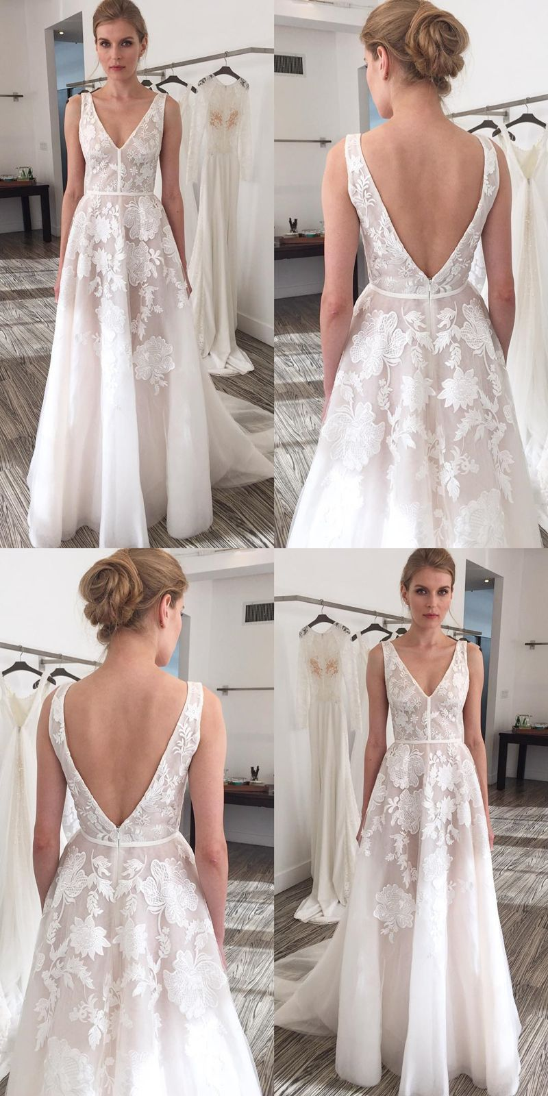 Aline vneck sweep train ivory tulle wedding dress with embroidery