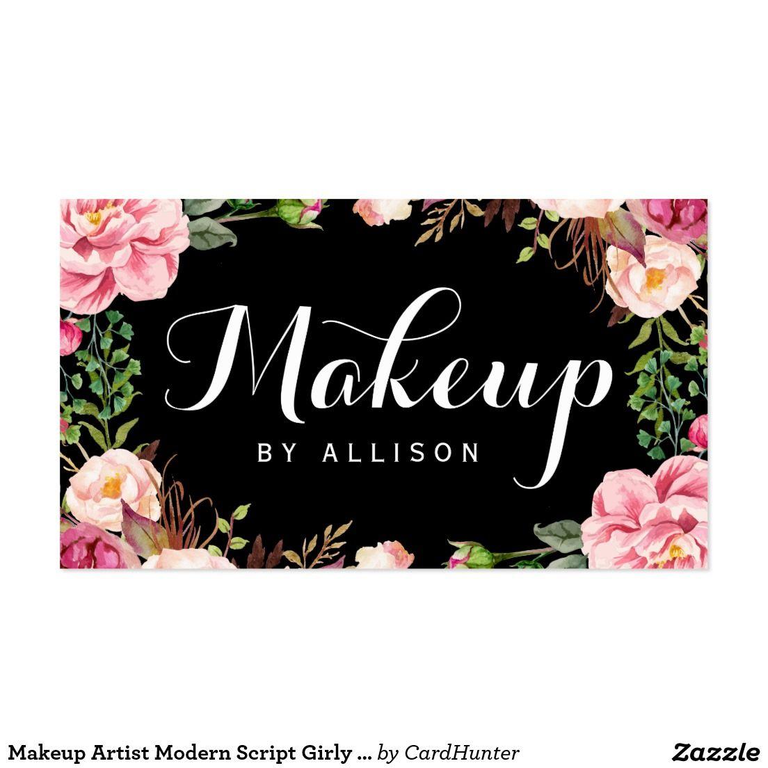 Makeup Artist Modern Script Y Fl Wring Business Card Nail Techniciansalon