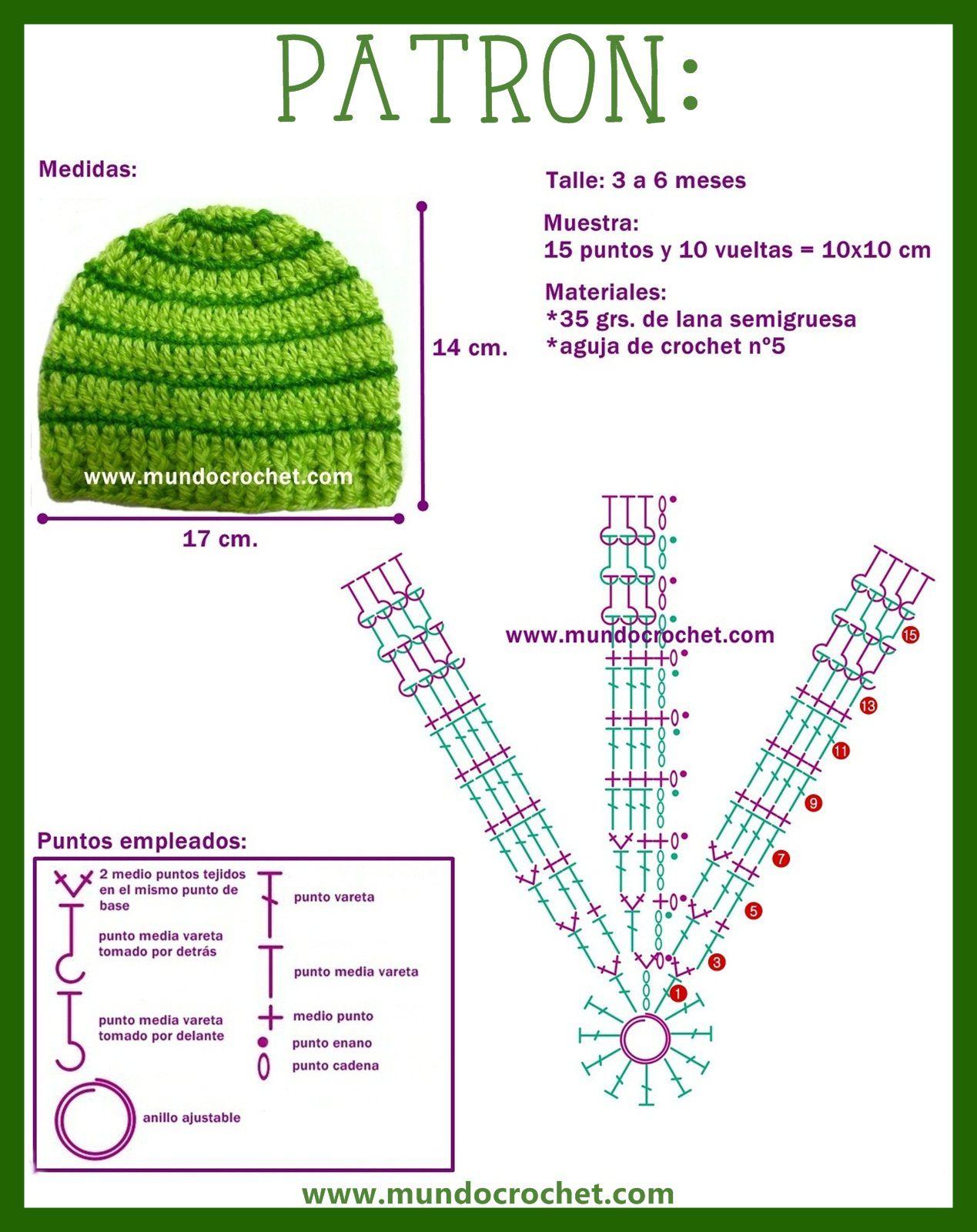 Gorro a Crochet rayado para bebé | Crochet for babies | Pinterest ...