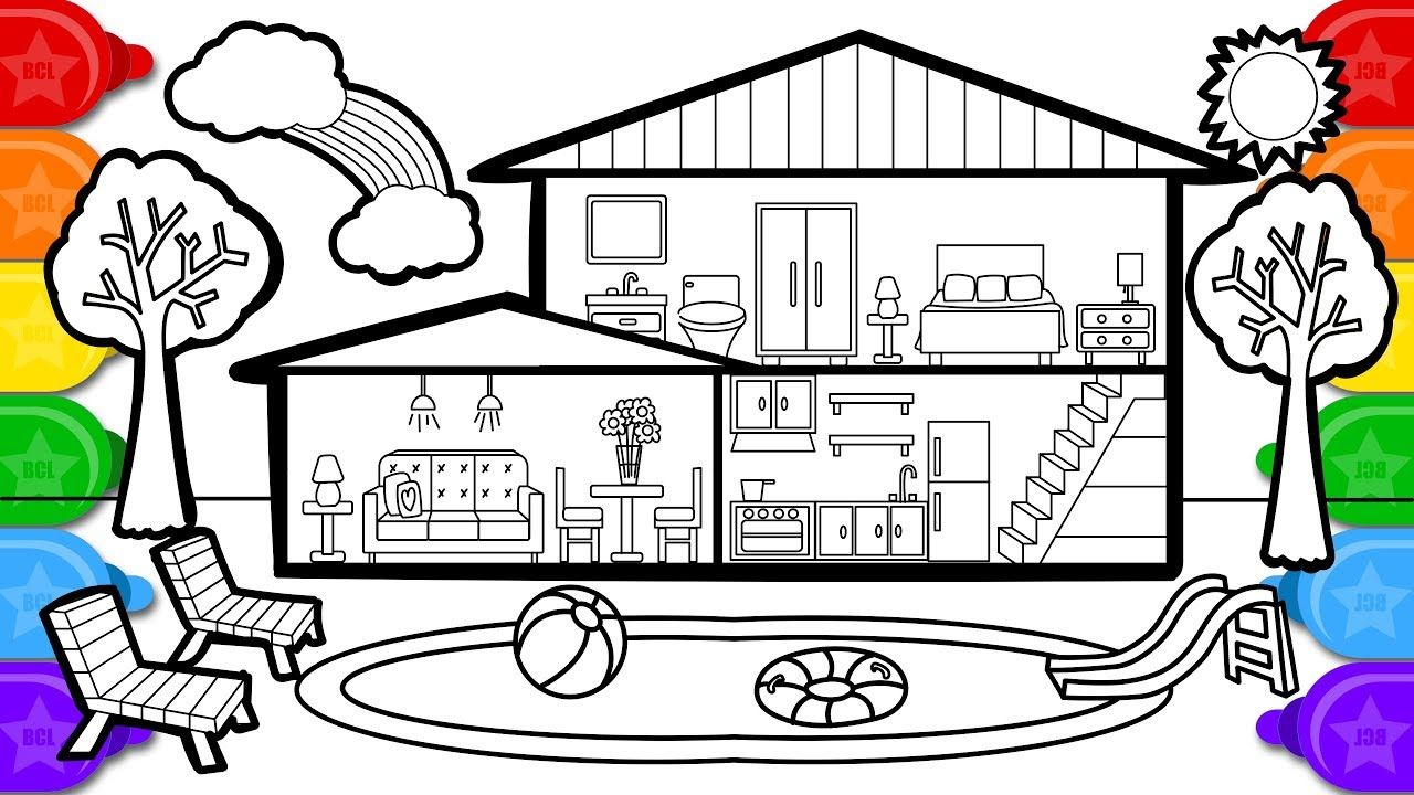 Coloring house with swimming pool colouring page, learn