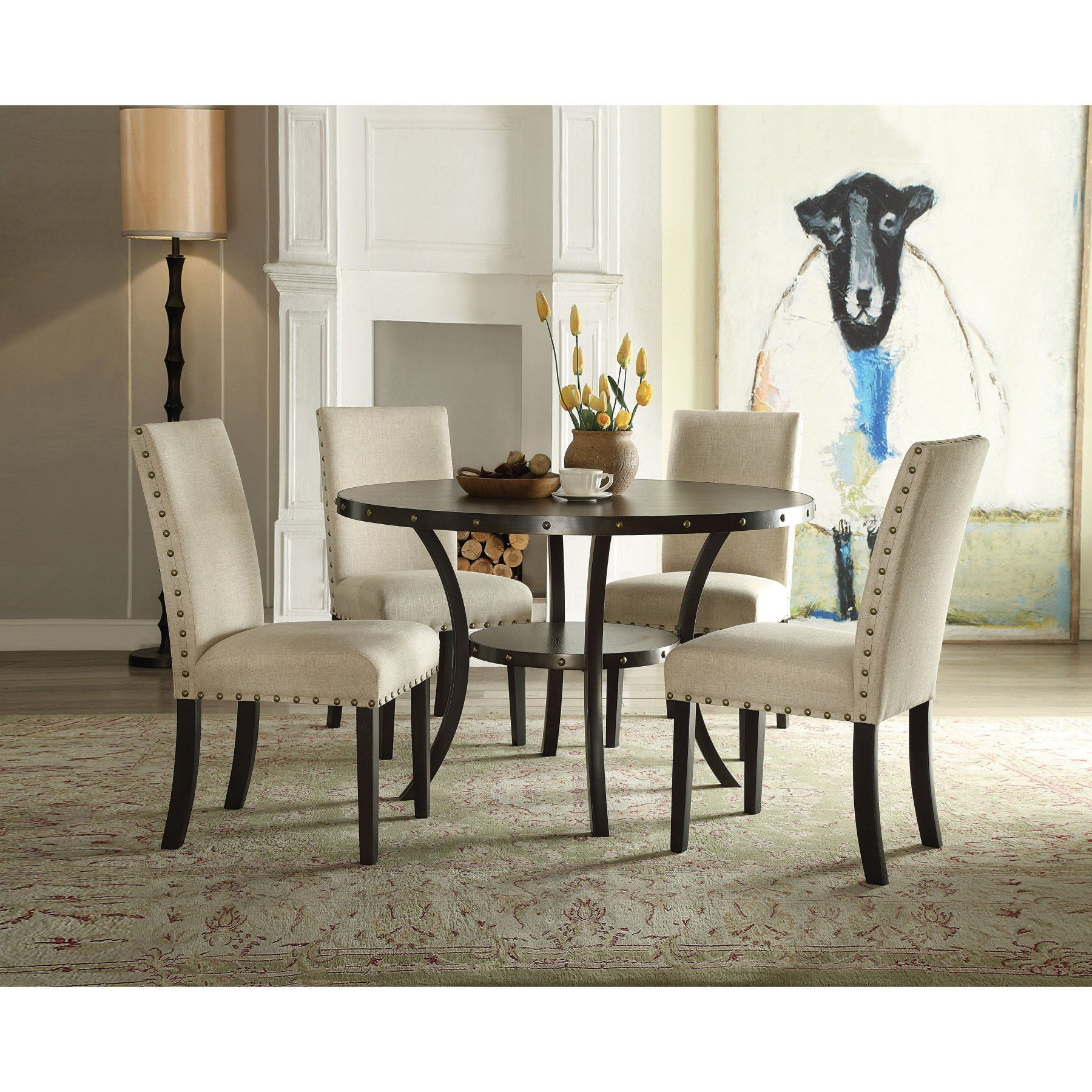Acme Furniture Hadas 5 Piece Round Dining Table Set  Acm1751 Adorable Acme Dining Room Set Decorating Design