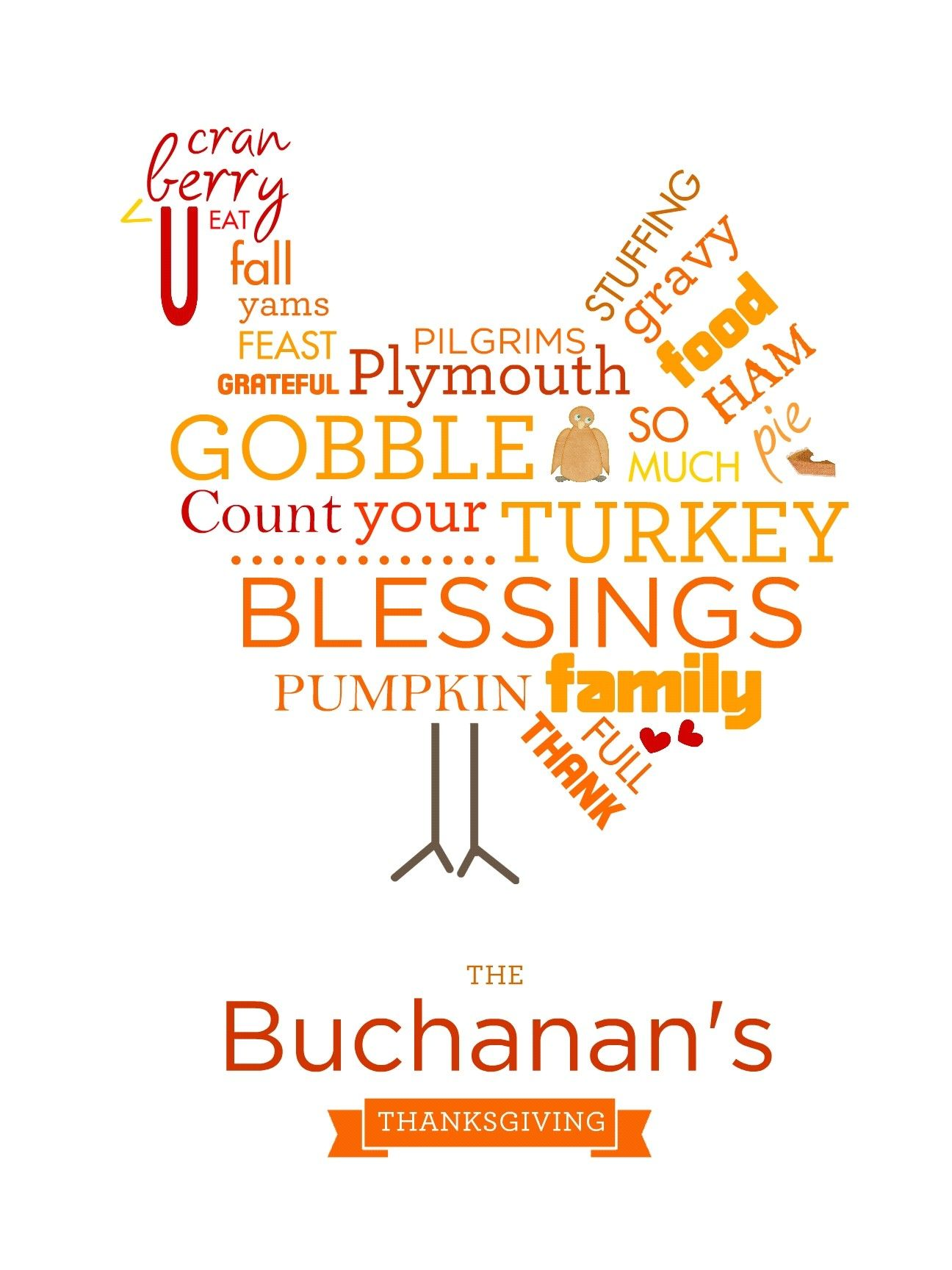 Thanksgiving Blessings Word Art Postercanvas Buchanan Creations